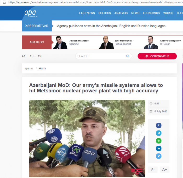 Azerbaijani MoD: Our army's missile systems allows to hit Metsamor nuclear power plant with high accuracy